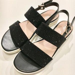 Aldo Eliraviel Black Glitter Platform Sandals